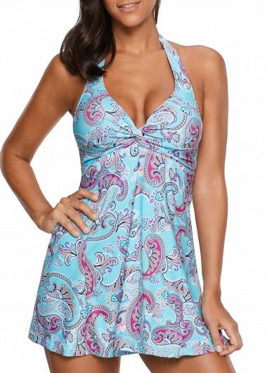 Buy Blue Halter Printed Flyaway Swimdress Shorts