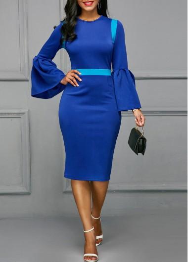 Back Slit Flare Sleeve Patchwork Blue Skinny Dress