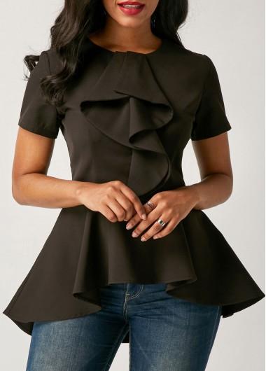 Short Sleeve Asymmetric Hem Black Flouncing Blouse