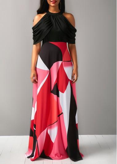 Printed High Waist Cold Shoulder Dress