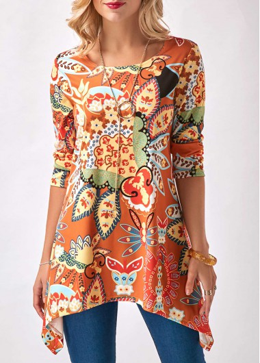 Printed Round Neck Sharkbite Hem Orange Blouse
