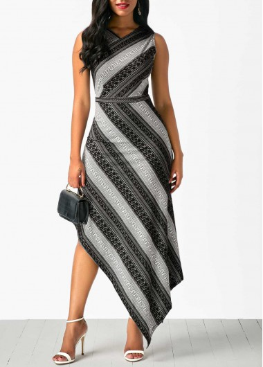Asymmetric Hem Sleeveless V Neck Printed Dress