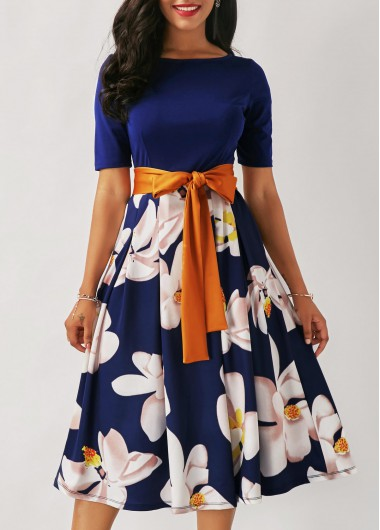 Flower Print Navy Blue Belted Dress