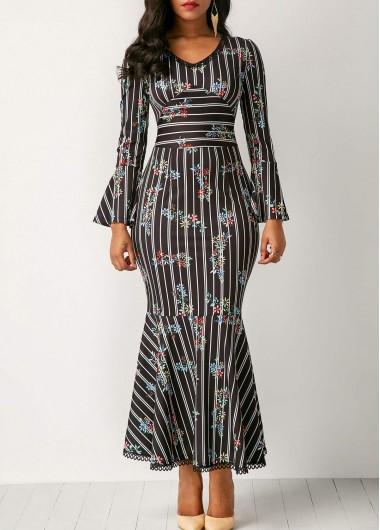 Printed Flare Sleeve Peplum Hem Dress