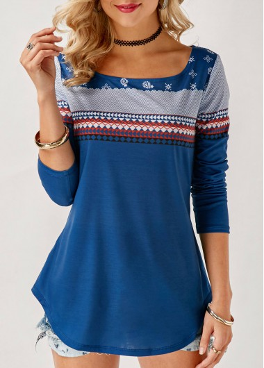 Printed Scoop Neck Blue Curved T Shirt