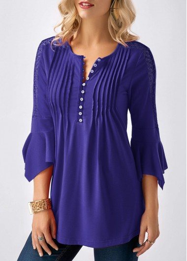 Button Neck Three Quarter Sleeve Crinkle Chest Blouse