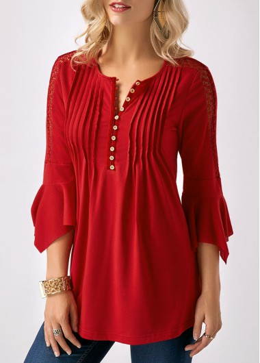 Crinkle Chest Button Neck Red Blouse