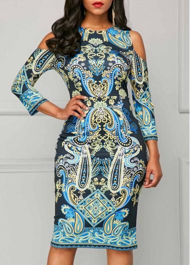 Printed Round Neck Cold Shoulder Sheath Dress