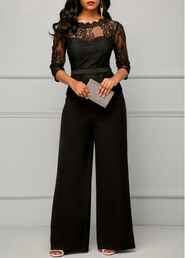 Three Quarter Sleeve Lace Panel Black Jumpsuit