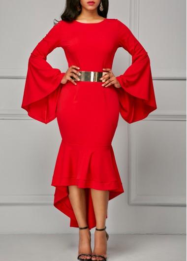 Flare Sleeve Asymmetric Hem Red Sheath Dress