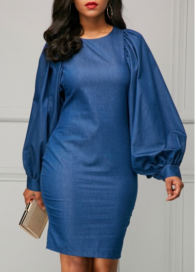 Lantern Sleeve Back Slit Blue Sheath Dress