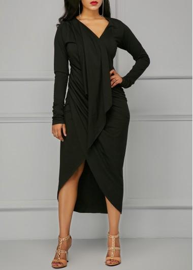 Asymmetric Hem V Neck Black Draped Dress