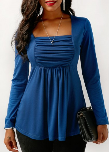 Ruched Long Sleeve Square Collar Blue Blouse