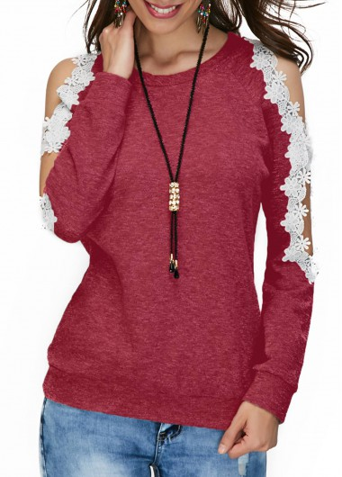 Cold Shoulder Lace Panel Wine Red Blouse