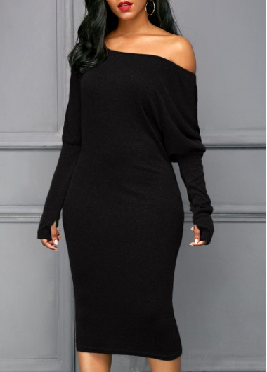 Glove Sleeve Skew Neck Black Dress
