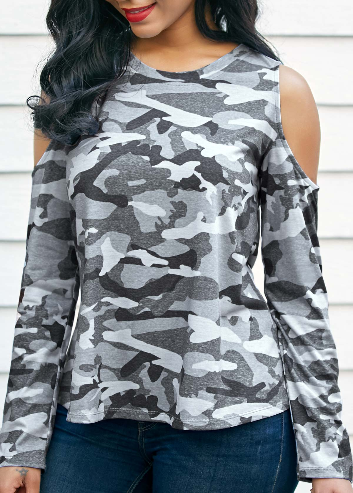 Long Sleeve Camouflage Print Cold Shoulder T Shirt