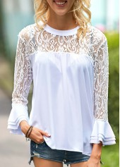 Pierced-White-Round-Neck-Flare-Sleeve-Blouse