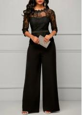 Three Quarter Sleeve Lace Panel Black Jumpsuit