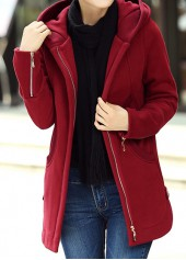 Zipper Up Hooded Collar Wine Red Curved Coat