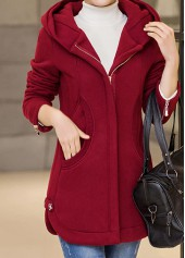 wholesale Zipper Up Hooded Collar Wine Red Curved Coat