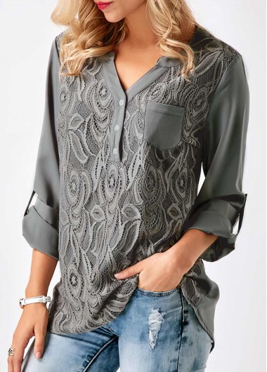 Roll Tab Sleeve Lace Panel Grey Blouse