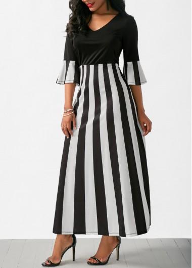 Flare Sleeve V Neck Striped Maxi Dress