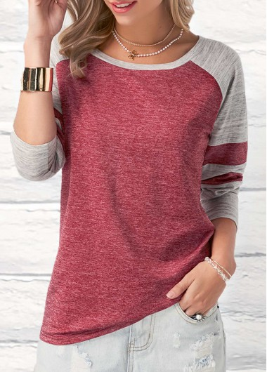 Long Sleeve Round Neck Patchwork Wine Red T Shirt