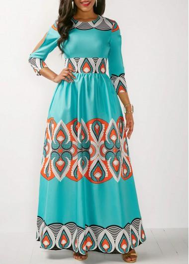 High Waist Three Quarter Sleeve Printed Dress