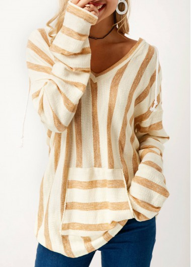 Long Sleeve Striped V Neck Pocket Sweater
