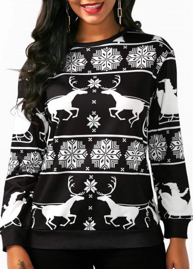 Christmas Long Sleeve Elk Print Sweatshirt