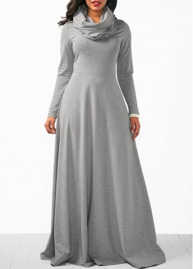 Cowl Neck Long Sleeve Grey Maxi Dress