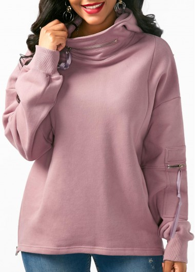 Pocket Embellished Long Sleeve Pullover Hoodie