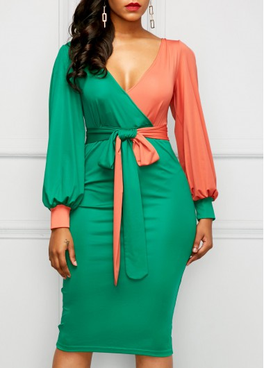Belted Color Block Lantern Sleeve Sheath Dress