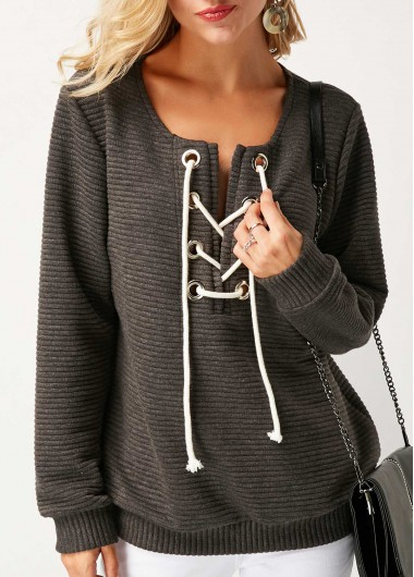 Long Sleeve Lace Up Grey Sweatshirt