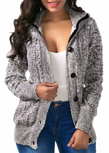 Button Up Hooded Collar Grey Coat