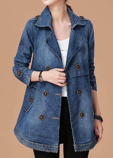 Button Embellished Notch Collar Long Sleeve Denim Coat