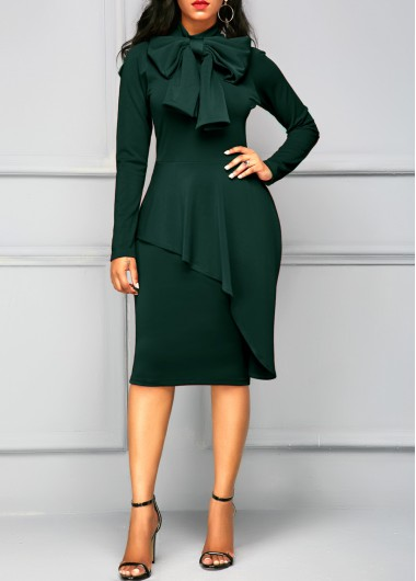 Tie Neck Peplum Waist Dark Green Dress