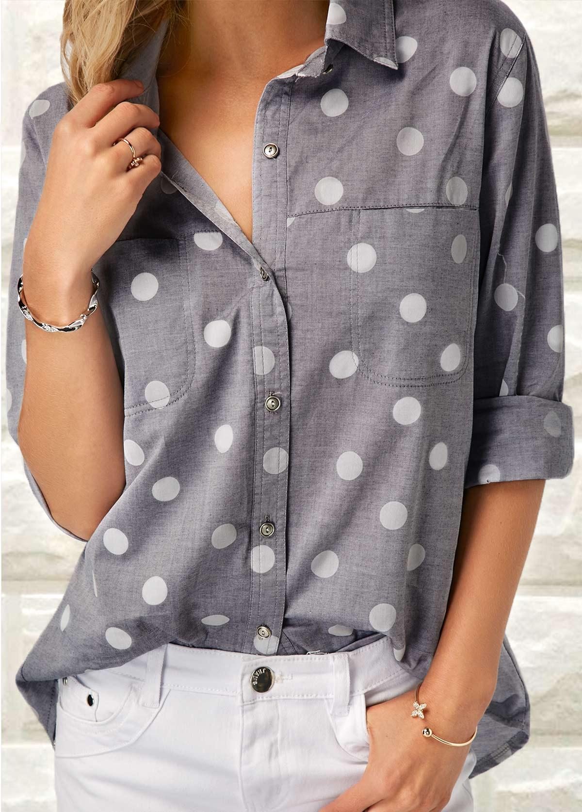 ROTITA Turndown Collar Polka Dot Print Shirt