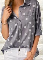 Turndown-Collar-Polka-Dot-Print-Shirt