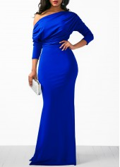 Blue-Skew-Neck-High-Waist-Mermaid-Dress