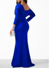 wholesale Blue Skew Neck High Waist Mermaid Dress