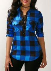 Plaid Print Lace Up Front Blouse