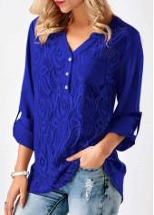 Asymmetric-Hem-Roll-Tab-Sleeve-Lace-Panel-Blouse