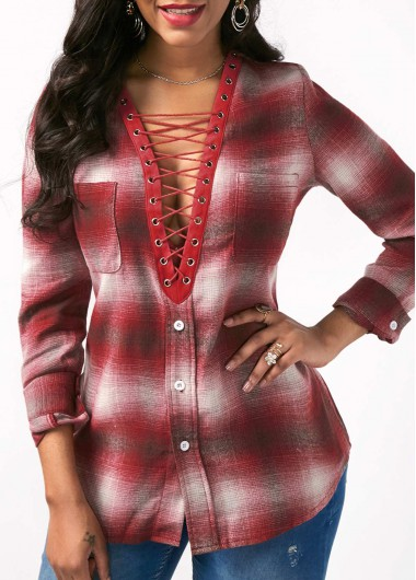 Lace Up Front Printed Long Sleeve Blouse