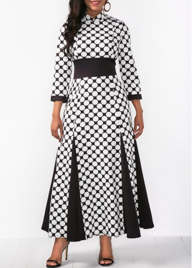 Printed Three Quarter Sleeve Maxi Dress
