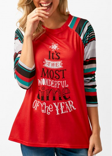 Long Sleeve Letter Print Red T Shirt