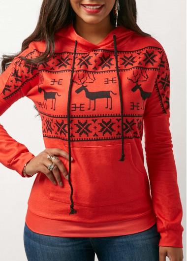 Long Sleeve Kangaroo Pocket Christmas Hoodie