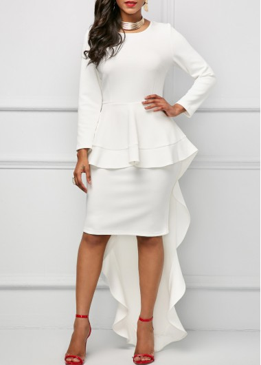 Long Sleeve Round Neck Overlay Dress