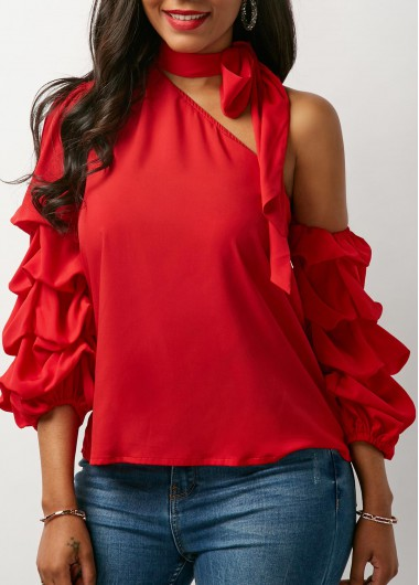 Tie Neck Layered Sleeve Red Blouse