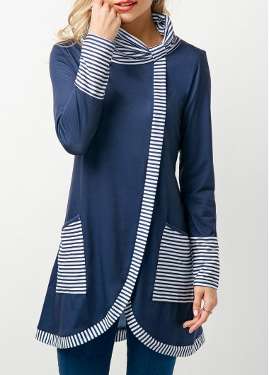 Asymmetric Hem Stripe Print Cowl Neck Navy T Shirt